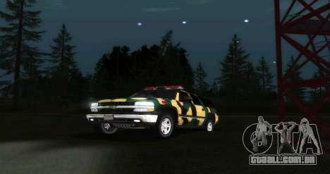 Chevrolet Exterior Camuflagem para GTA San Andreas vista traseira