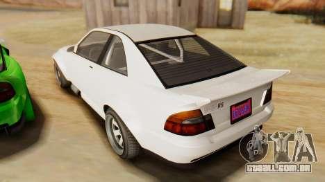 GTA 5 Karin Sultan RS IVF para GTA San Andreas traseira esquerda vista