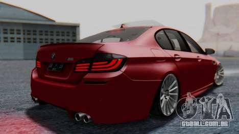 BMW M5 2012 Stance Edition para GTA San Andreas esquerda vista