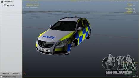 GTA 5 Police Vauxhall Insignia Estate vista lateral direita