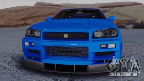 Nissan Skyline R34 Full Tuning para GTA San Andreas vista direita