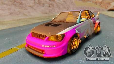 GTA 5 Karin Sultan RS Carbon para GTA San Andreas vista interior