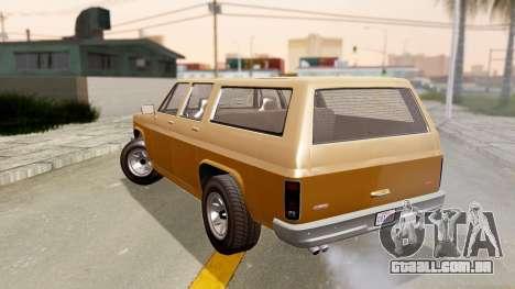 GTA 5 Declasse Rancher XL para GTA San Andreas esquerda vista