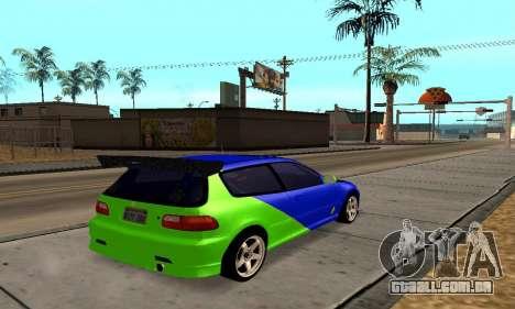 Honda Civic EG6 Tunable para GTA San Andreas vista direita