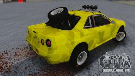 Nissan Skyline R34 Rusty Rebel para GTA San Andreas esquerda vista