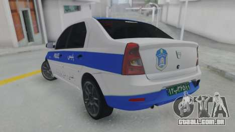 Dacia Logan Iranian Police para GTA San Andreas esquerda vista