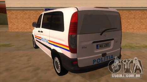 Mercedes Benz Vito Romania Police para GTA San Andreas traseira esquerda vista