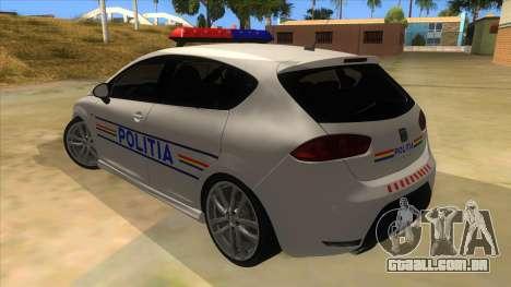 Seat Leon Cupra Romania Police para GTA San Andreas traseira esquerda vista