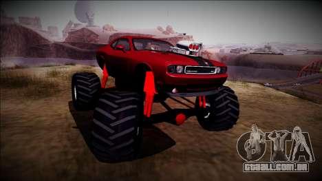 2009 Dodge Challenger SRT8 Monster Truck para GTA San Andreas vista traseira