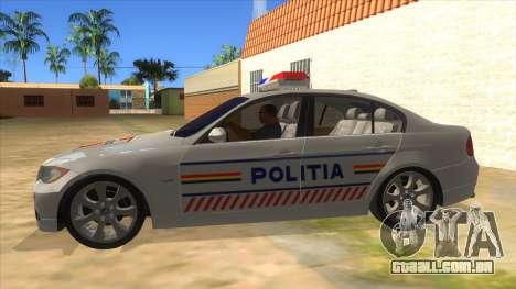 BMW 330XD Romania Police para GTA San Andreas esquerda vista