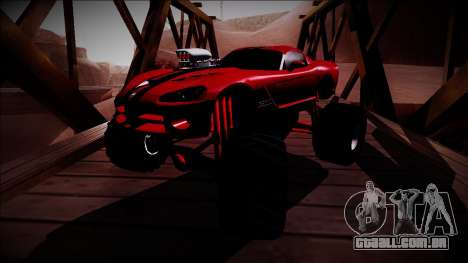Dodge Viper SRT10 Monster Truck para GTA San Andreas vista traseira