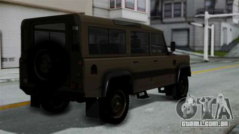 Land Rover Defender Vojno Vozilo para GTA San Andreas esquerda vista