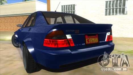 GTA V Karin Sultan RS 4 Door para GTA San Andreas vista inferior