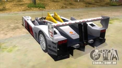 Audi R10 para GTA San Andreas traseira esquerda vista