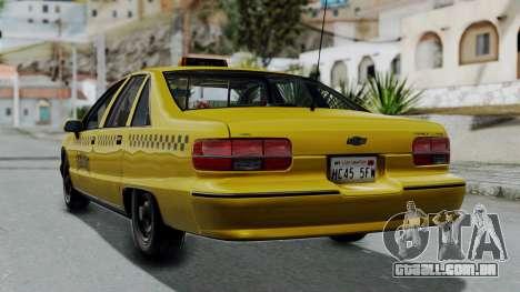 Chevrolet Caprice 1991 Taxi para GTA San Andreas esquerda vista