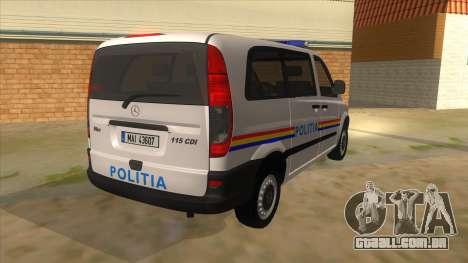 Mercedes Benz Vito Romania Police para GTA San Andreas vista direita