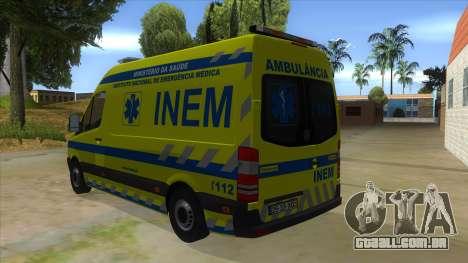 Mercedes-Benz Sprinter INEM Ambulance para GTA San Andreas traseira esquerda vista