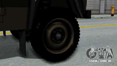 Land Rover Defender Vojno Vozilo para GTA San Andreas traseira esquerda vista