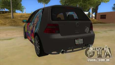 Volkswagen Golf R32 Hatsune Miku Itasha para GTA San Andreas traseira esquerda vista