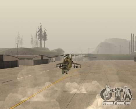 Um Mi-24 De Crocodilo para GTA San Andreas vista traseira