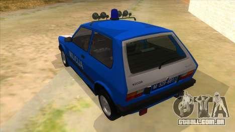 Yugo Koral Police para GTA San Andreas traseira esquerda vista