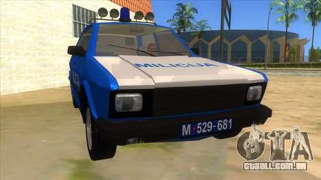 Yugo Koral Police para GTA San Andreas vista traseira