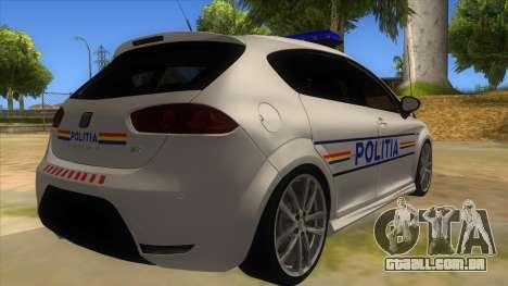 Seat Leon Cupra Romania Police para GTA San Andreas vista direita