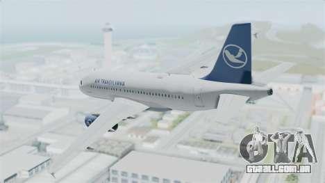 Airbus A319 Air Transylvania para GTA San Andreas esquerda vista