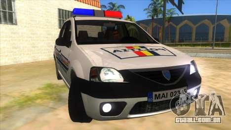 Dacia Logan Romania Police para GTA San Andreas vista traseira