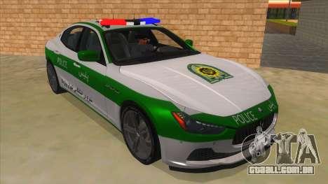 Maserati Iranian Police para GTA San Andreas vista traseira