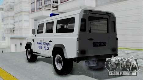 Land Rover Defender Serbian Border Police para GTA San Andreas esquerda vista