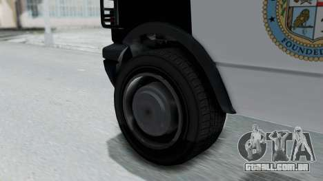 GTA 5 Declasse Burrito Police Transport IVF para GTA San Andreas traseira esquerda vista
