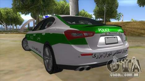Maserati Iranian Police para GTA San Andreas traseira esquerda vista