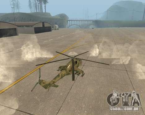 Um Mi-24 De Crocodilo para GTA San Andreas traseira esquerda vista
