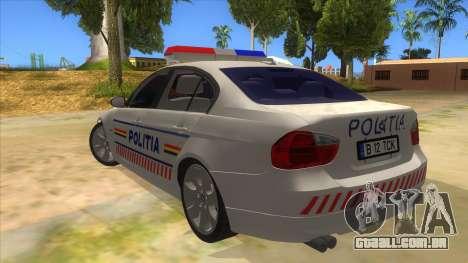 BMW 330XD Romania Police para GTA San Andreas traseira esquerda vista
