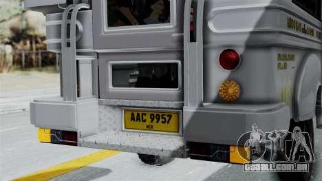 Jeepney Philippines para vista lateral GTA San Andreas