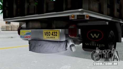 Jeep con Estacas Stylo Colombia para GTA San Andreas vista traseira