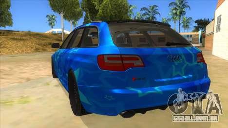 Audi RS6 Blue Star Badgged para GTA San Andreas traseira esquerda vista