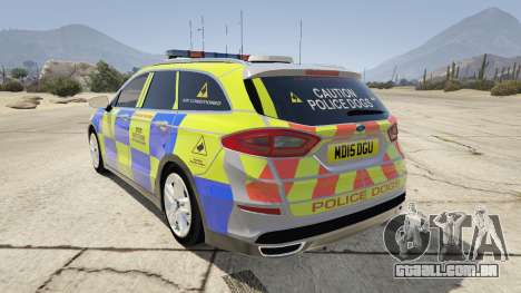 GTA 5 2014 Police Ford Mondeo Dog Section traseira vista lateral esquerda