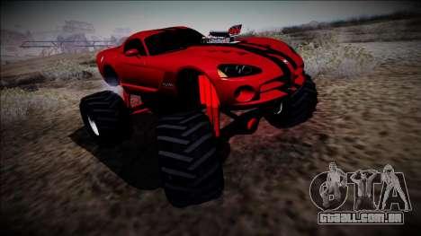 Dodge Viper SRT10 Monster Truck para GTA San Andreas traseira esquerda vista
