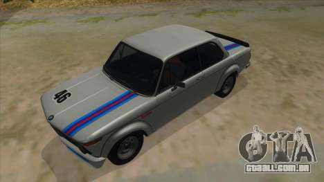 1974 BMW 2002 turbo v1.1 para GTA San Andreas vista superior