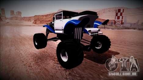 GTA 5 Albany Franken Stange Monster Truck para GTA San Andreas traseira esquerda vista