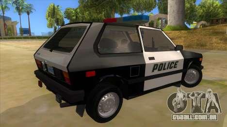 Yugo GV Police para GTA San Andreas vista direita