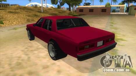 1984 Chevrolet Impala Drag para GTA San Andreas traseira esquerda vista