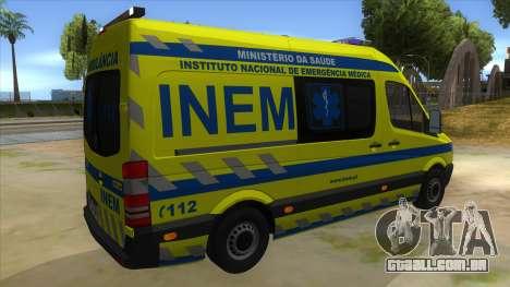 Mercedes-Benz Sprinter INEM Ambulance para GTA San Andreas vista direita