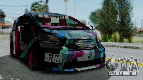 Toyota Vellfire Miku Pocky Exhaust v2 para GTA San Andreas