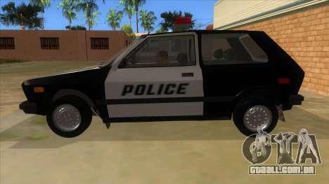Yugo GV Police para GTA San Andreas esquerda vista