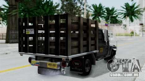 Jeep con Estacas Stylo Colombia para GTA San Andreas esquerda vista