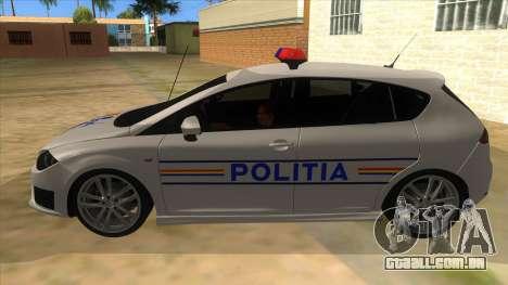 Seat Leon Cupra Romania Police para GTA San Andreas esquerda vista