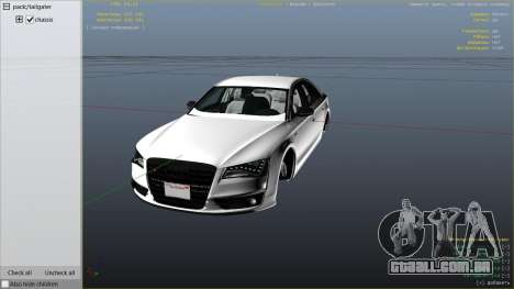 2013 Audi S8 4.0TFSI Quattro para GTA 5